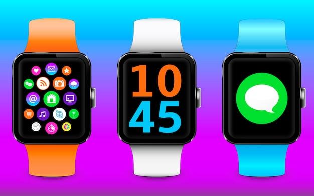 Smartwatch moderno com pulseiras coloridas e widgets na tela