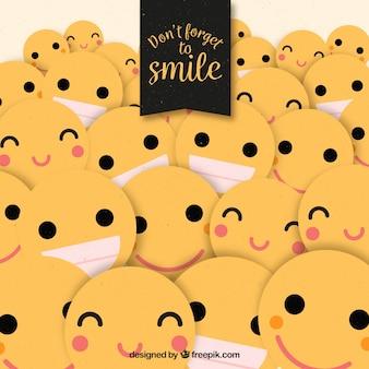Smile background com emoticons planos