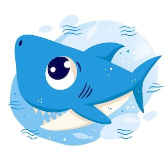 Smiley bebê tubarão com olhos azuis