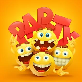 Smiley enfrenta personagens emoticon com expressões faciais. realista
