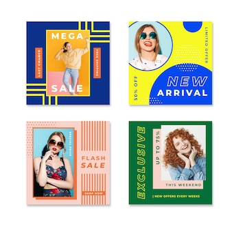 Smiley women colorful instagram venda post