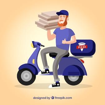 Smileyman que entrega pizza