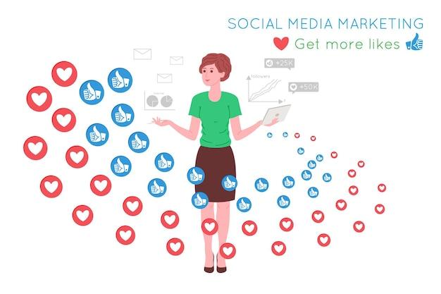 Smm, marketing de mídia social, promoção digital na internet, rede social. banner da agência smm. a mulher atrai gostos e corações com um ímã. ilustração em vetor dos desenhos animados para serviços de publicidade.