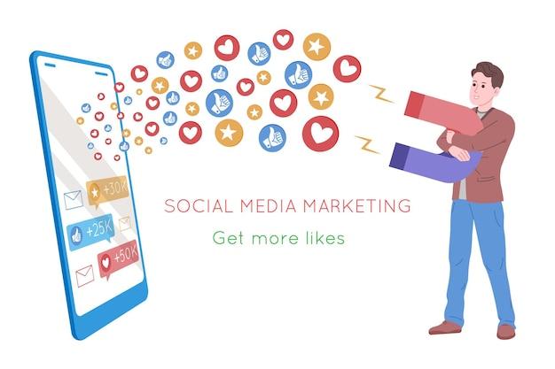 Smm, marketing de mídia social, promoção digital na internet, rede social. banner da agência smm. o homem atrai corações e gostos com um ímã. ilustração em vetor dos desenhos animados para serviços de publicidade.