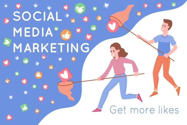Smm, promoção de marketing digital na internet, redes sociais. homem e mulher pegando corações e gostos por uma rede de caçar borboletas. ilustração em vetor plana para serviços de publicidade. marketing de mídia social