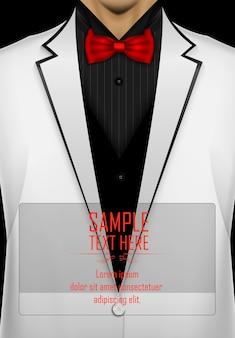 Smoking branco com modelo de gravata preta