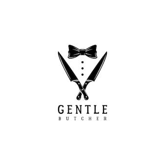 Smoking de gravata borboleta com faca de açougueiro logotipo desenho vetorial