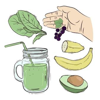 Smoothie como fazer conjunto de ilustração de receita de bebidas