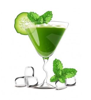Smoothie coquetel bebida verde com pepino