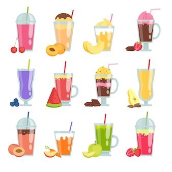 Smoothie de desenhos animados. conjunto de vários smoothies de bebidas de verão