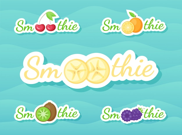 Smoothie de frutas e bagas batido conjunto de etiqueta de bebida
