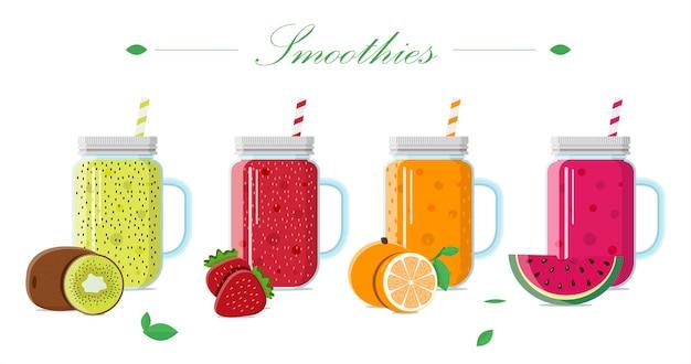 Smoothie de frutas em uma jarra de vidro com tampa e um conjunto de ilustrações vetoriais de canudos de bebidas de fres ...