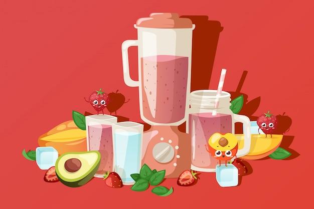 Smoothie de frutas ingredientes, bebidas frescas no verão, ilustração