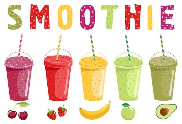 Smoothie e frutas. conjunto de ilustrações smoothie ou suco fresco com canudos. menu de batidos.