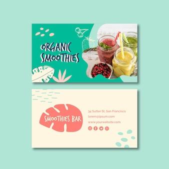 Smoothie orgânico cartão de visita frente e verso
