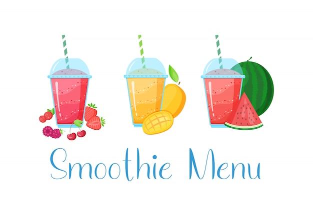 Smoothie vegetariana shake coleção de coquetéis