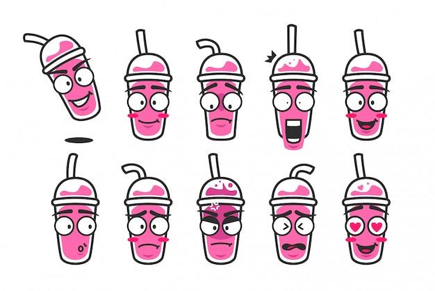 Smoothies rosa copo bebida personagem dos desenhos animados mascote emoji smiley bonito expressão kit conjunto