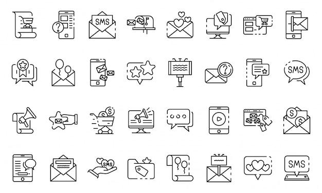 Sms marketing conjunto de ícones, estilo de estrutura de tópicos
