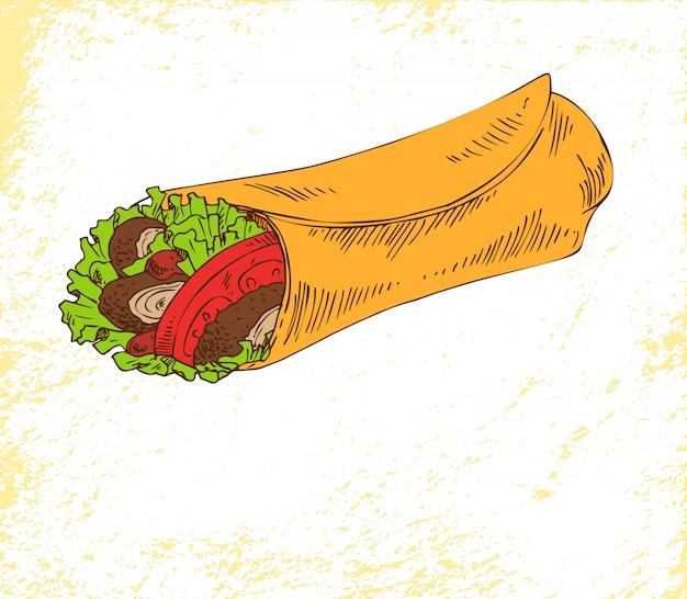 Snack burrito isolado no cartaz de vetor branco