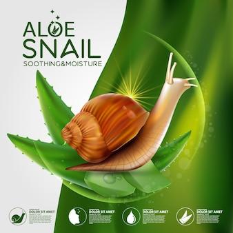 Snail, aloe vera serum cosmetic for skin.