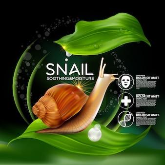 Snail serum cosmético para pele.
