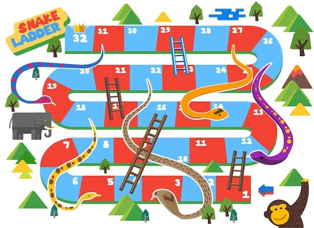 Snake and ladder boardgame é divertido para garoto