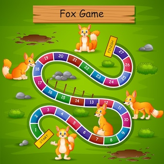 Snakes and ladders game fox theme