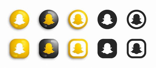 Snapchat moderno 3d e conjunto de ícones plana