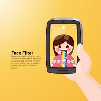 Snapchat vomit rainbow face filter