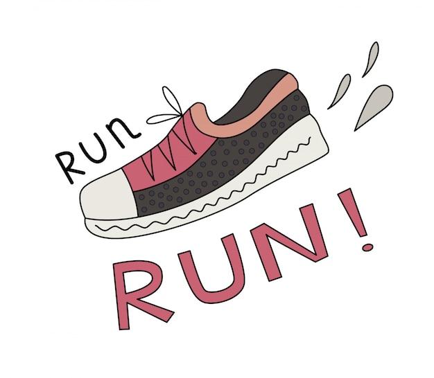 Sneaker, salpicos e run lettering.