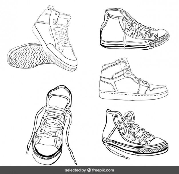 Sneakers esboçado definido