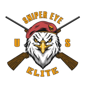 Sniper eagle military vector design