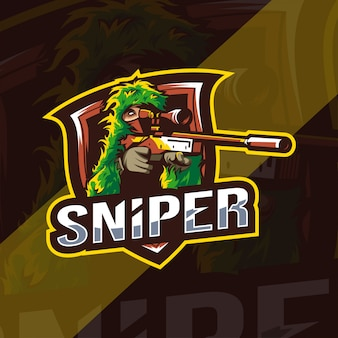 Sniper mascote logotipo modelo esport
