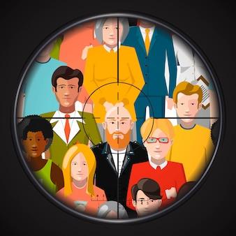 Sniper mira criminosos em uma multidão, ilustração plana