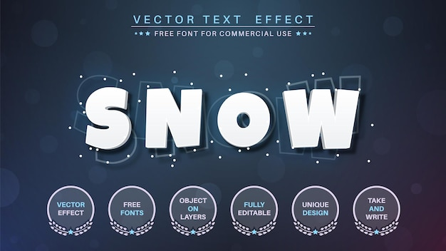 Snoe branco - efeito de texto editável, estilo de fonte.