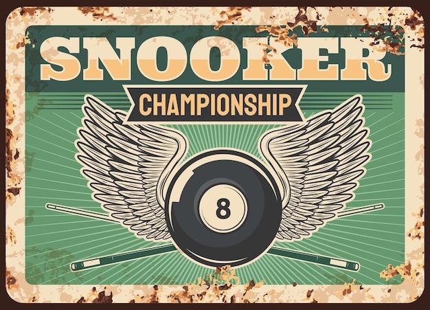 Snooker bilhar clube de bilhar placa de metal enferrujado