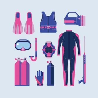 Snorkeling e mergulho conjunto de elementos