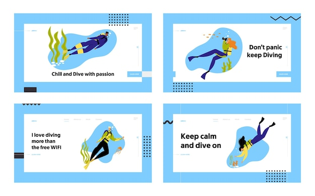 Snorkeling personagens atividades divertidas subaquáticas conjunto de páginas de destino do site