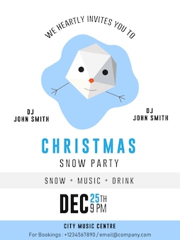 Snow man christmas party banner flyer cartão premium flyer