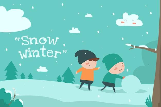 Snow winter flat ilustração cute child desin