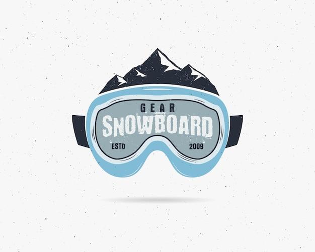 Snowboard óculos de proteção extrema logotipo, modelo de legenda. crachá da loja do esporte do snowboard do inverno.