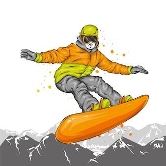 Snowboarder com roupas elegantes