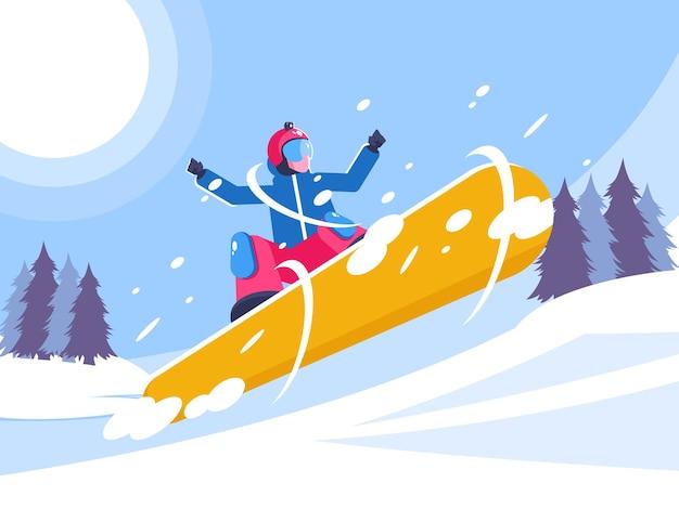 Snowboarder em ação