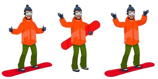 Snowboarder em diferentes poses. personagem masculina em estilo cartoon.