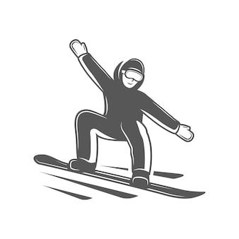 Snowboarder isolado no fundo branco.