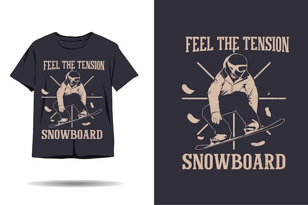 Snowboarding sinta a tensão do design da silhueta da camiseta