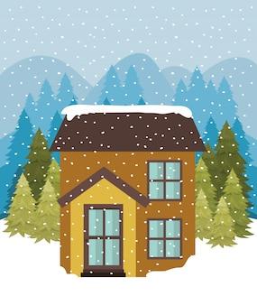 Snowscape com casa bonita
