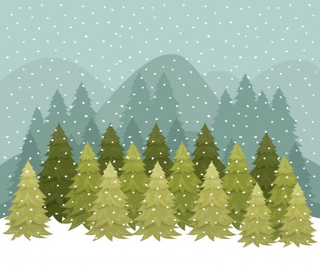 Snowscape com cena de floresta de pinheiros