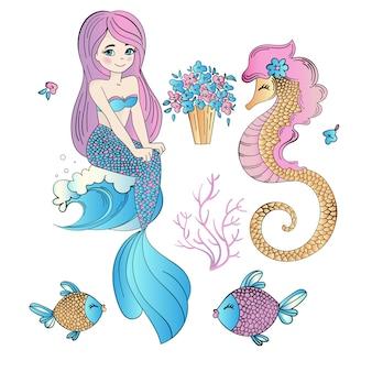 Sob a água easter sereia feriado vector conjunto de ilustração
