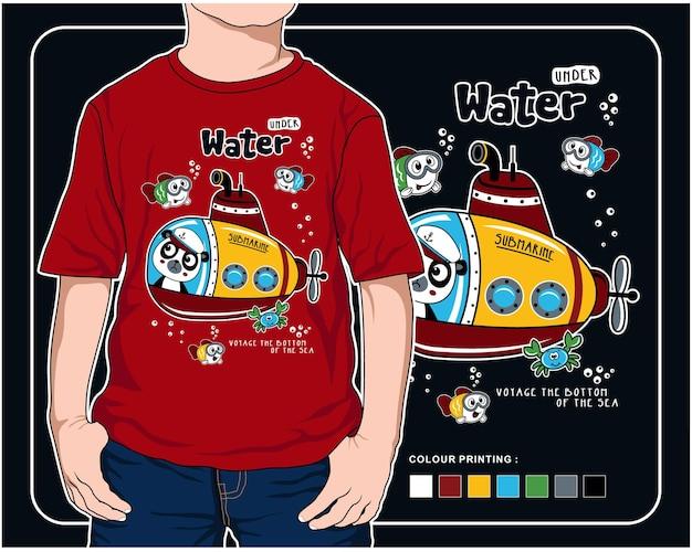 Sob a água vector animal cartoon ilustração design gráfico para impressão